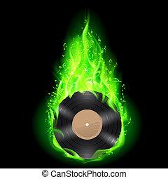 disque, vert, vinyle, fire.