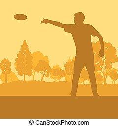 disque, voler, parc, arbres, jouant jeu, vecteur, jeter, homme