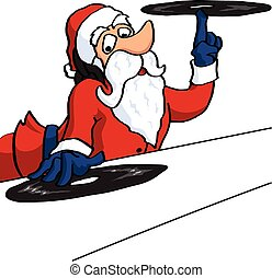 disques, claus, dj, vinil, santa