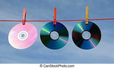 disques, dvd, cd, ficelle, trois