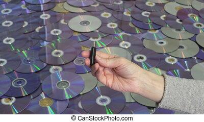 disques, tenue, mémoire, crosse, dvd, fond, cd, femme, usb