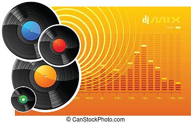 disques, vinyle, graphique, analyseur