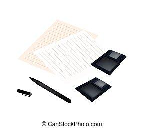 disquete, caneta, papel, disco, em branco