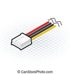 disquete, conector, isometric, 4, alfinete