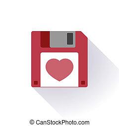 disquette, coeur, disque