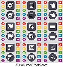 disquette, ensemble, coloré, plat, cctv, main, texte, grand, tour, symbole., boutons, apps, drapeau, vecteur, mus, phonographe, icône, fichier, ton, design.