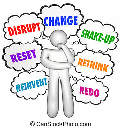 disrupt, mudança, inove, rethink, pensamento, nuvens, 3d, ilustração