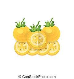 disséquer, tomate, icône, ensemble, couleur, jaune