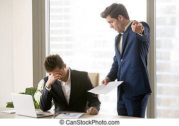 Dissatisfied annoyed boss arguing with employee