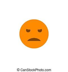 Dissatisfied emotion anthropomorphic face. Orange smile isolated on a white background.