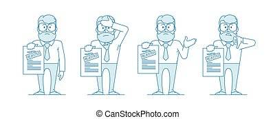 Dissatisfied man shows a document with a rejected ...