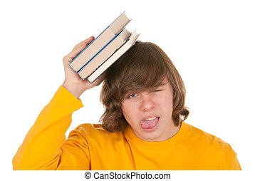 Dissatisfied teenager with book