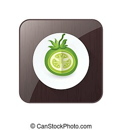 dissect Green Tomato 3D Icon  and button