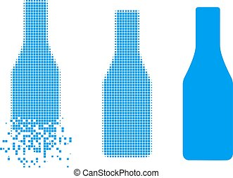 Dissipated Dot Halftone Beer Bottle Icon - Beer bottle icon ...
