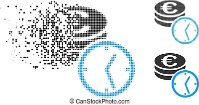 Dissipated Dot Halftone Euro Coins And Time Icon - Euro ...