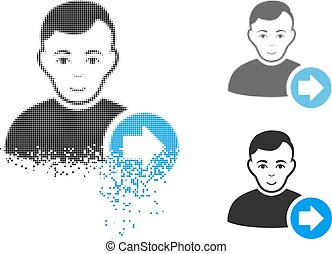 Dissipated Dot Halftone Following User Icon with Face - ...