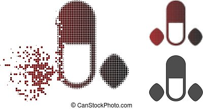 Dissipated Dot Halftone Male Power Pills Icon - Male power...