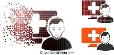Dissipated Dot Halftone Online Medicine Icon - Online ...