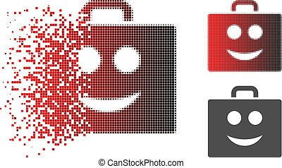 Dissipated Dot Halftone Smile Case Icon - Smile case icon in...