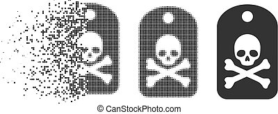 Dissipated Dotted Halftone Death Sticker Icon - Death ...