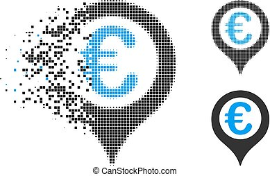 Dissipated Dotted Halftone Euro Geotargeting Icon - Euro ...