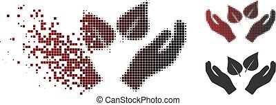 Dissipated Dotted Halftone Flora Care Hands Icon - Flora...