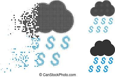 Dissipated Dotted Halftone Money Rain Icon