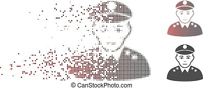 Dissipated Pixel Halftone Army General Icon