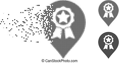 Dissipated Pixel Halftone Award Seal Marker Icon