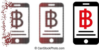 Dissipated Pixel Halftone Baht Mobile Payment Icon
