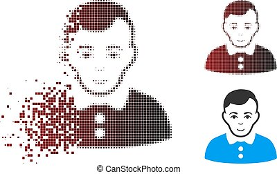 Dissipated Pixel Halftone Boy Icon