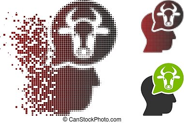 Dissipated Pixel Halftone Cattle Thinking Person Icon