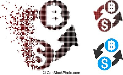 Dissipated Pixel Halftone Dollar Baht Exchange Icon - Vector...