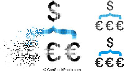 Dissipated Pixel Halftone Euro Dollar Conversion Aggregator ...
