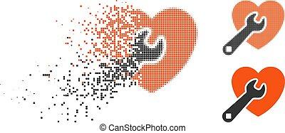 Dissipated Pixel Halftone Heart Repair Icon