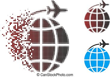 Dissipated Pixel Halftone International Flight Icon