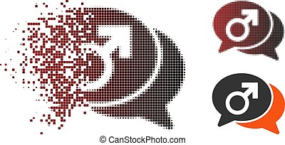 Dissipated Pixel Halftone Male Chat Icon