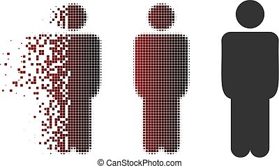 Dissipated Pixel Halftone Man Icon