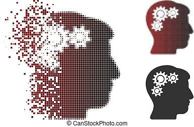 dissipated, pixel, halftone, mente, engrenagem, rotação, ícone