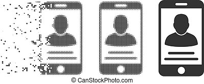 Dissipated Pixel Halftone Mobile Account Icon