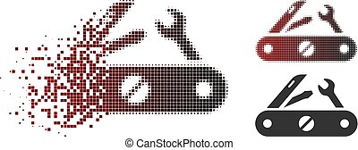 Dissipated Pixel Halftone Multitool Knife Icon - Multitool...