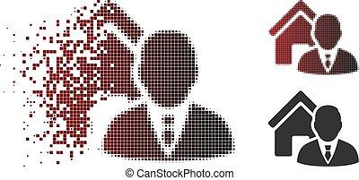 Dissipated Pixel Halftone Realtor Icon
