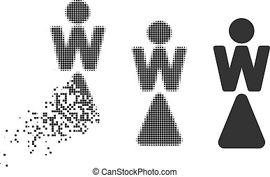 Dissipated Pixel Halftone Woman Icon