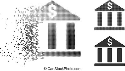 Dissipated Pixelated Halftone Bank Building Icon - Bank ...