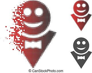 Dissipated Pixelated Halftone Happy Waiter Icon - Happy...