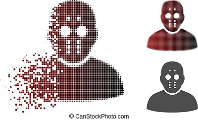 Dissipated Pixelated Halftone Maniac Icon - Maniac icon in ...
