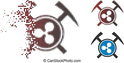 Dissipated Pixelated Halftone Ripple Mining Hammers Icon - ...