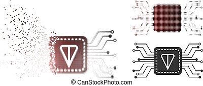 Dissipated Pixelated Halftone Ton Wallet Circuit Icon