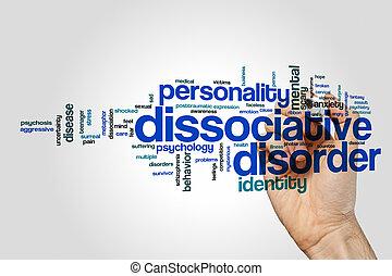 Dissociative disorder word cloud on grey background