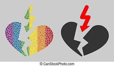 dissolution, icône, mosaïque, coeur, spheric, spectre, points